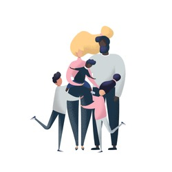 Adoption vector illustration. Big international family with adopted child's Isolated on a white background. Multinational families.