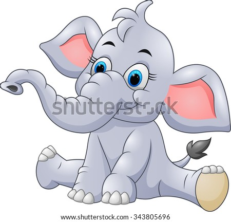 adorable baby elephant sit