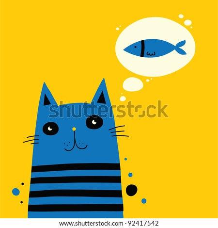 Adorable cat is waiting for food - stock vector
