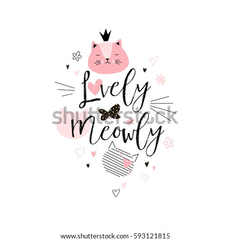 adorable cat tee graphic for...