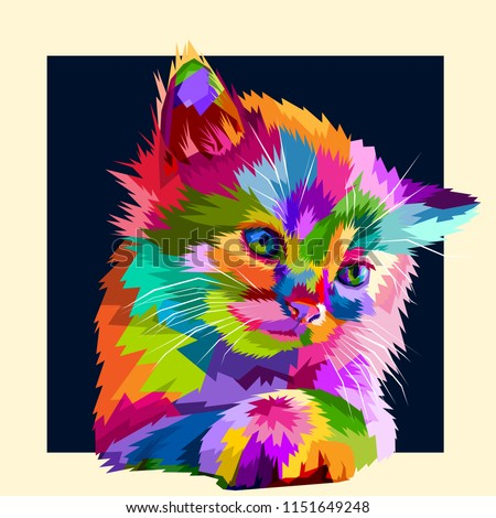 adorable colorful animal cat in