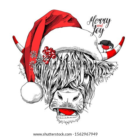 Adorable Cow with bangs in a red Santa's hat and with a bird. Merry and joy - lettering quote. Christmas and New year card, Humor composition, hand drawn style print. Vector illustration.
