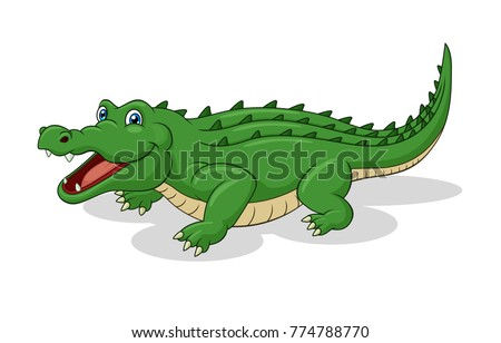 Adorable Crocodile Cartoon. Vector Illustration