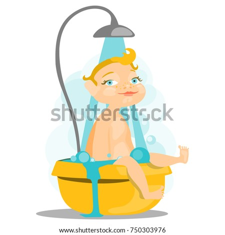 adorable  cute baby in the bath