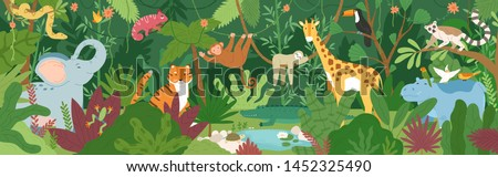 Adorable exotic animals in tropical forest or rainforest full of palm trees and lianas. Flora and fauna of tropics. Cute funny inhabitants of African jungle. Flat cartoon colorful vector illustration. stock photo