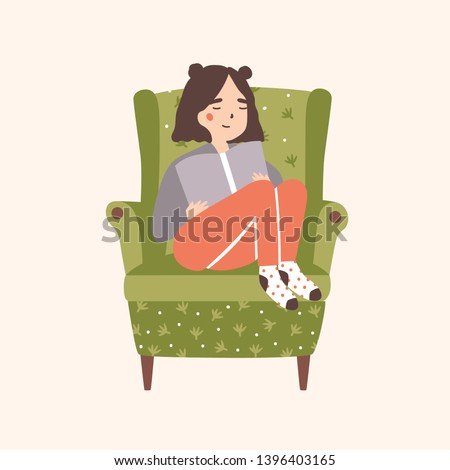 Adorable girl sitting in comfy armchair and reading book isolated on light background. Portrait of cute young woman spending time at home and relaxing in cozy chair. Flat cartoon vector illustration.
