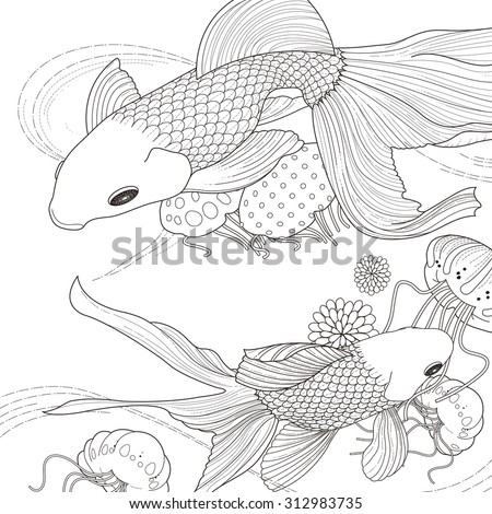 adorable golden fish coloring