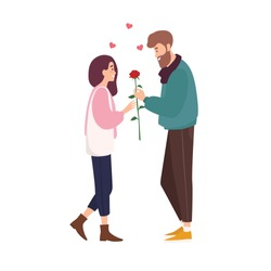 Adorable happy couple in love on romantic date. Cute smiling boy giving rose flower to girl. Young man and woman met through online dating application or website. Flat cartoon vector illustration.