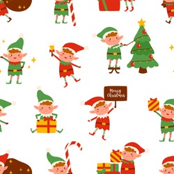 Adorable happy elves in festive costumes seamless pattern. Cute Santa helpers with Christmas gifts and decorations vector flat illustration. Colorful winter seasonal holiday wallpaper template