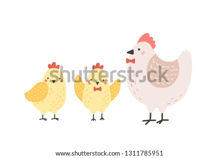 Adorable hen and chicks isolated on white background. Chicken with brood. Cute lovely family of domestic fowl or poultry birds. Childish flat vector illustration for t-shirt or sweatshirt print.