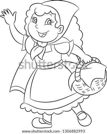 Adorable kawaii black and white illustration of a cute little girl, little red riding hood, holding a basket, waving at you, in black contour, perfect for children's coloring book, or coloring game