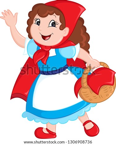 Adorable kawaii illustration of a cute little girl, little red riding hood, holding a basket, waving at you, in color, perfect for children's book