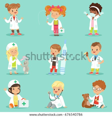 adorable kids playing doctor