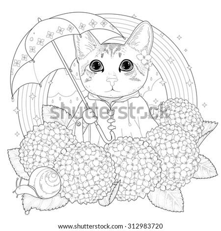 adorable kitty coloring page in