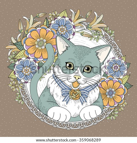 adorable kitty coloring page