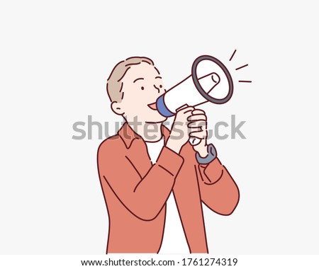 Adorable little boy shouting in megaphone. Hand drawn style vector design illustrations.