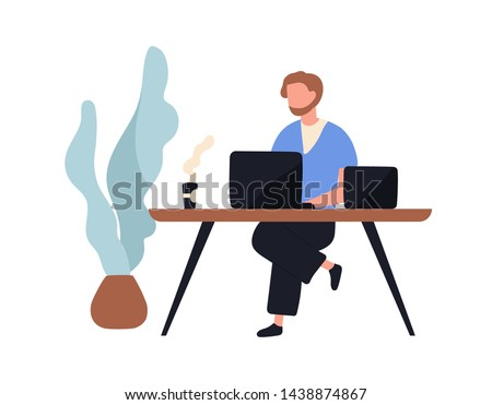 Adorable man sitting at desk and working on laptop computer. Cute young male employee, creative freelance worker or writer at workplace. Work routine. Flat cartoon colorful vector illustration.
