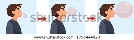 Adorable preteen boy blowing up a balloon isolated on a over purple background Foto d'archivio ©