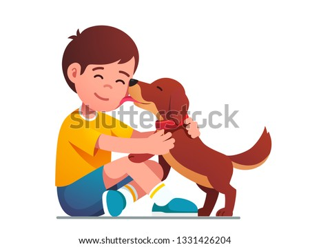 Adorable puppy dog licking kids face. Happy child hugging and petting domestic animal. Smiling boy kid sitting and embracing happy pet dog. Good friend. Flat character vector isolated illustration