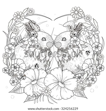 adorable rabbit coloring page