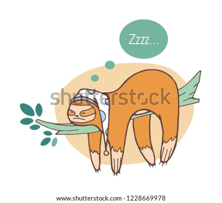 Adorable sloth sleeping on branch. Lazy wild jungle animal taking nap or dozing on rainforest tree. Funny cartoon character isolated on white background. Colored hand drawn vector illustration.