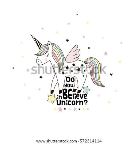 adorable unicorn  doodle...