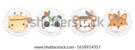 adorable watercolor style animals illustration, animal clipart, baby shower decoration, woodland illustration.  ストックフォト ©