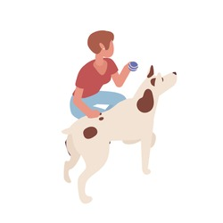 Adorable woman training dog vector isometric illustration. Cute female playing with domestic animal holding ball isolated on white background. Pet and his owner spending time together