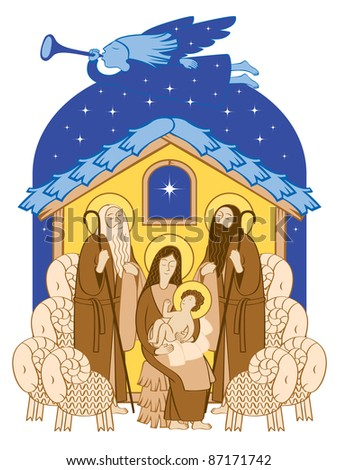 Adoration of the Magi. Mary and Jesus