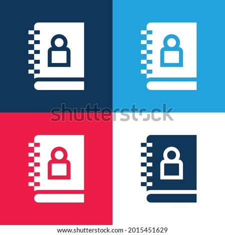 Adress Book blue and red four color minimal icon set Photo stock ©