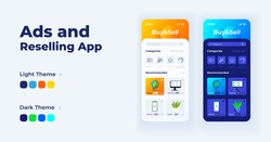 Ads and reselling app cartoon smartphone interface vector templates set. Mobile app screen page day and night mode design. Reselling online UI for application. Phone display with flat illustrations