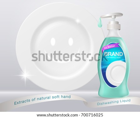 Shutterstock Ads Dishwashing Liquid. Dish-washing bottle form Used for advertising such as posters, flyers, books, Internet. illustrations advertising. Vector realistic.