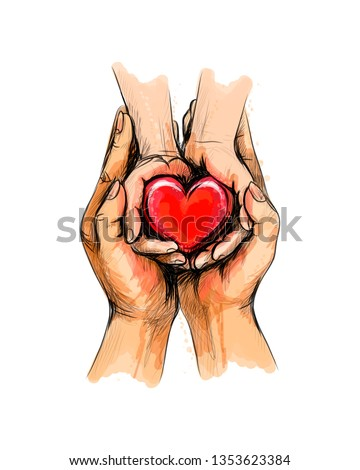 Adult and child hands holding red heart, health care, donate, world heart day, world health day, Happy Mother s day, valentine s day love