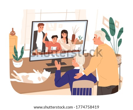 Adult children and grandchildren chatting with elderly relatives vector flat illustration. Aged man and woman talking making online video call use computer isolated. Family web communication