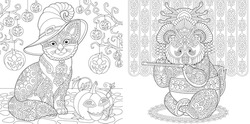 Adult coloring book. Cat among Halloween pumpkin decor. Panda geisha playing flute. Line art design for antistress colouring pages in zentangle style. Vector illustration.