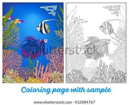 Adult Coloring Book Page With Underwater World Coral Reef Colored Sample Corals