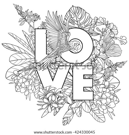 Adult coloring book. Coloring page  with word