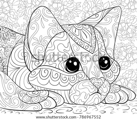 Adult Coloring Bookpage A Cute Cat For Relaxing Zen Art Style Illustration