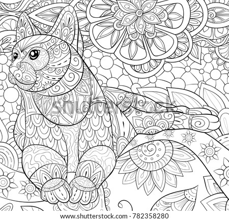 Adult Coloring Bookpage A Cute Cat On The Floral Background For Relaxing Zen
