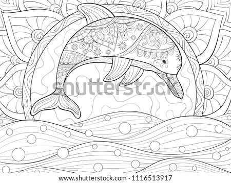 Adult Coloring Bookpage A Cute Dolphin On The Background With Sun And Water Waves