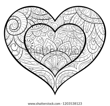 Adult coloring book page.  A cute heart image for relaxing.Zen art style illustration for print.d