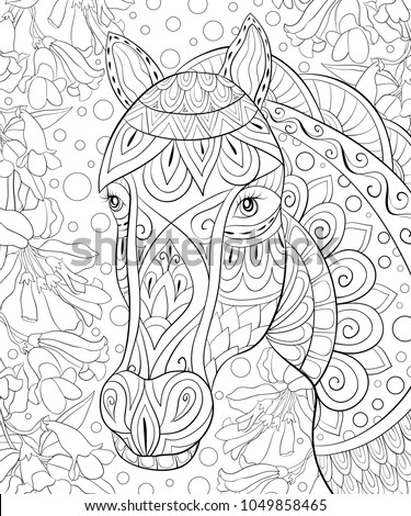Adult coloring book,page a cute horse on the background for relaxing.Zen art style illustration.