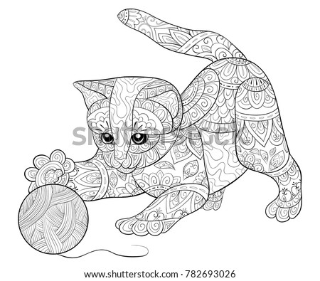 Adult Coloring Bookpage A Cute Little Cat Playing With Thread Ball For Relaxing