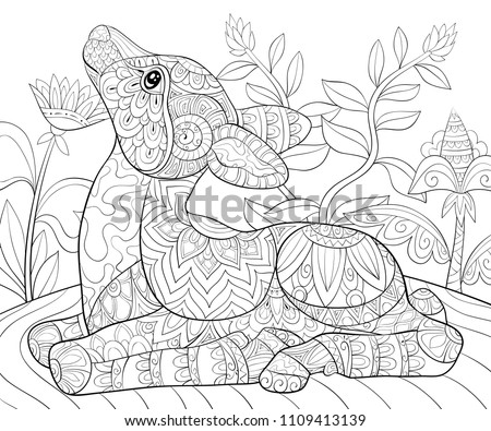 Adult Coloring Bookpage A Cute Little Deer On The Floral Background For Relaxing