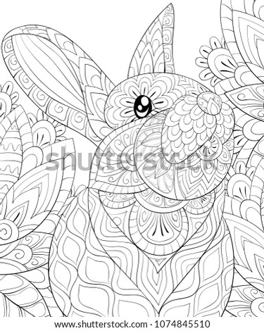 Adult coloring book,page a cute rabbit on the background for relaxing.Zen art style illustration.