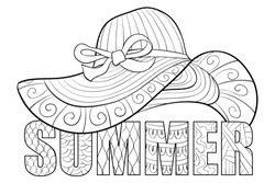 Adult coloring book,page a cute summer hat with letters for relaxing.Zen art style illustration.