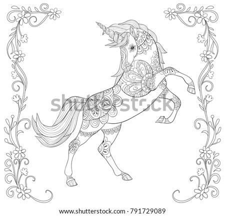 Adult coloring book,page a cute unicorn in a floral frame for relaxing.Zen art style illustration.