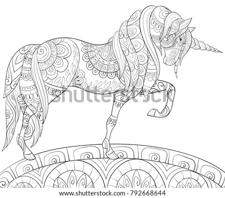 Adult Coloring Bookpage A Cute Unicorn On The Field For RelaxingZen Art