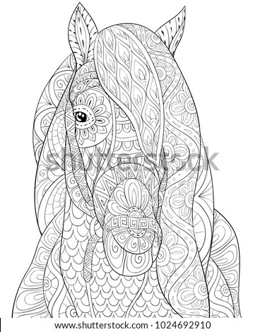 adult coloring book page a head