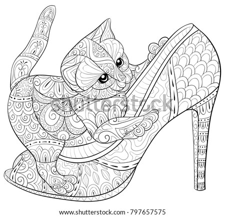 Vector Illustration Adult Coloring Bookpage A Little Cat On The High Heel For RelaxingZen